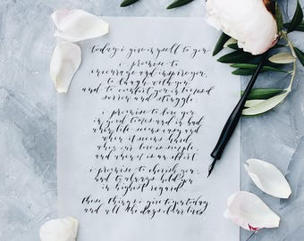 Custom Calligraphy Wedding Vows, Wedding Vows, Wedding Gift, Anniversary Gift