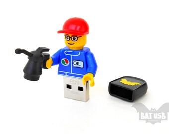 Lego mechanic usb 16GB, Lego usb, Lego® original Minifigure, Lego gadget, Lego flash drive, Lego pen drive, Usb gadget, Gift for him, Gift