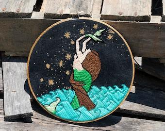 Mermaid Embroidery Art // handmade gifts // mermaid art // wall hanging // mermaid christmas present // christmas gifts for her / funky gift