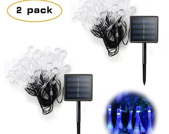 2 Pack 30 Solar Powered LED Water Drop Icicle Lights - 20 feet long - Blue - 2 Pack USA Seller - Super Fast Shipping