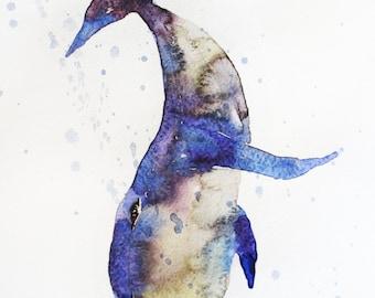 Whale original watercolor, Whale art, Fish watercolor, fish art, animal watercolor, whale watercolor, for home decor, wall decor, Art OOAK