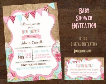 Shabby Chic Baby Shower invitation, Girl's Baby Shower invitation, Vintage Baby shower invitation sprinkle invite diaper raffle floral dot