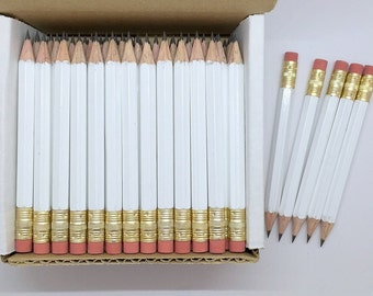 36 White Mini short half Hexagon Golf #2 Pencils With erasers Pre-Sharpened Made In the USA - Non Toxic Latex Free Express Pencils TM