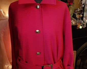 Italian Red Wool Coat with Gold Buttons