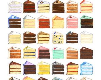 Original Art, Cake Slices, Gouache painting