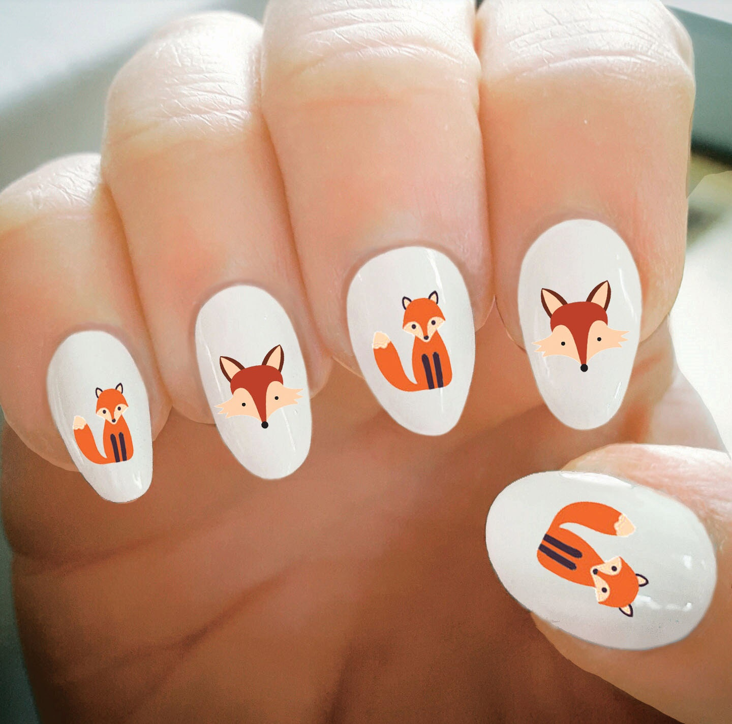 Nail Decals, Fox Nail Decals, Water Transfer Nail Decals,Nail Tattoo ...