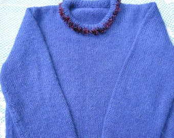 Gorgeous Purple Hand Knitted Jumper with Fun Fur trim for a  Girl aged around  8 years.