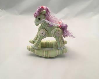 Handmade Rocking Horse - Hand-Dyed Angora Mane and Tail