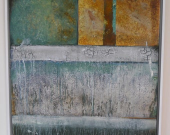 Abstract,large acrylic painting,patina,rust,papers,green,white,blue,frame,canvas, stonefloor,The old factorywall II by Beate Frieling