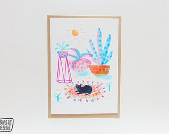 A6 Cat With Plants in Desert Greeting Card
