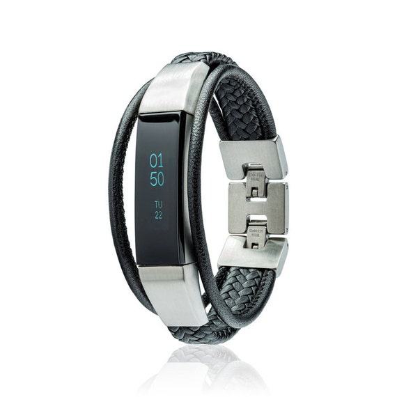 Bracelet Aurel 2 - for Fitbit Alta - Alta HR - Jewelry -- Black - Stainless steel and real leather - Fitbit Alta replacement band