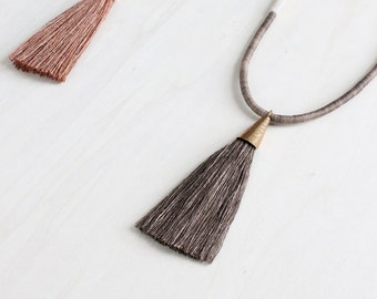 DEMETER necklace | naturally dyed cotton and silk tassel fiber statement necklace