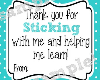 Instant Download. Sticking with me. Sticky Note Tag. Printabe Tag. Teacher Appreciation. End of school year. Teacher gift