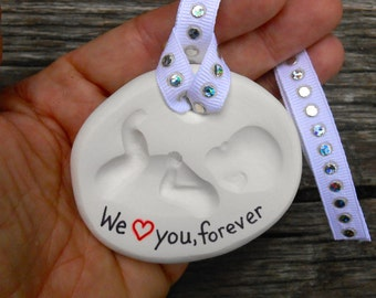 Baby Loss Ornament, Born into Heaven, Miscarriage, Funeral Gift, Baby Memorial, Clay Baby, Infant Memorial, Stillborn, Funeral Gift