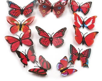 12 butterflies red 3D stick or magnetic 6 to 12 cm