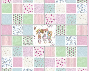 Infant Baby~Small Girl~Playpen or Stroller Quilt Kit~Bestest Friends~Wall Hanging~Rosebuds~Hearts~Pink~Green~Blue~Fabric~QK#93