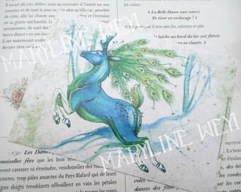 Map postcard peacock blue DOE deer