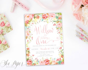 Willow Girl Birthday Invitation: Floral Watercolor Roses, Pink, Gold Glitter Party Invite. First, Second, Third, Fourth, Any Age!