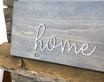 READY TO SHIP Script Home String Art Board | Single-Line String Style | Gray Stain