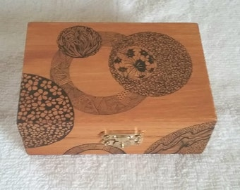 Art box ,box, trinket,drawing, keepsake, ink,memento, wooden box,one-of-kind,.