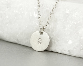 Silver Mini Initial Disc Necklace - Monogram Necklace - Custom Initial Necklace, 925 Sterling Silver