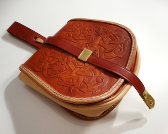 Viking tooled leather clutch purse