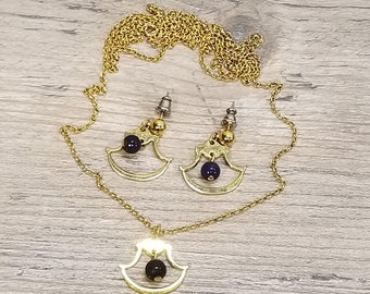VTG Historic Charleston (SC) Lapis Pierced Earrings & Matching Necklace, 18K Gold Plate on Solid Brass