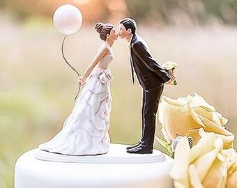 Kissing Couple Wedding Cake Topper Choose Hair Color