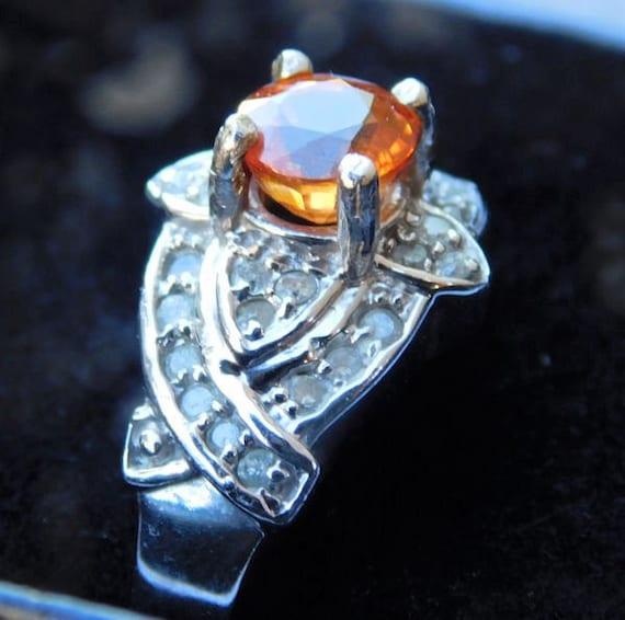 Mandarin Garnet and Diamond Ring / 10K White Gold / Size 6 Six / Edwardian Art Deco Revival / Unique Engagement