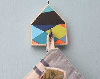 Geometric hook, Potholders hook, Bag hook, Colorful hook, Wooden hook, Bag holders, Kitchen hook, Nordic design hook, Key holder hooks