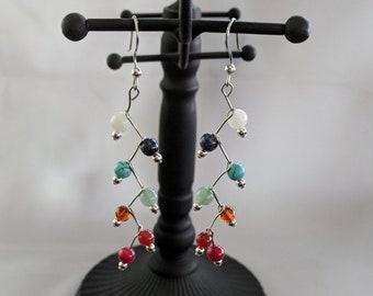 7 Chakra Zig Zag Earrings