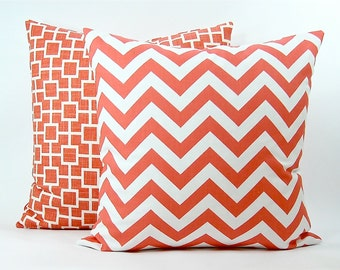 "Premier Prints Coral Chevron Zig Zag Decorative Pillow Cover - Coral & White Fabric Both Sides - To cover 16"", 18"" or 20"" Pillow Form"