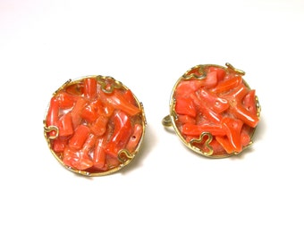 Vintage Coral Earrings - Gold Plated Clip-On Earrings - Orange Coral Chips # 1082