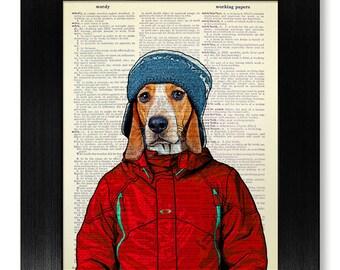 BEAGLE Art, DOG Painting, Beagle Print, Dog Poster KIDS Room Decor, Country Home Decor, Colorful Wall Art, Affordable Art, Original Artwork