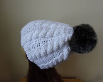 Cable Knit Hat Faux Fur Pompom Women Winter Hat Chunky Knit Hat White Hat Black Pompom Acrylic Hat - Ready to Ship - Gift for Her