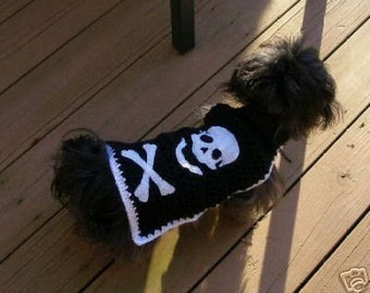 BAD To The BONE - Skull and Cross Bones - Eco friendly -2 to 20 lb dogs - Biker, Pirate sweater