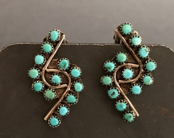 Zuni Turquoise Earrings, Sterling Silver, Turquoise Petit-Point, Vintage Clip-Backs