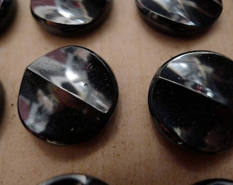 11 antique glass buttons on card