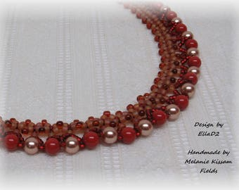 Coral Red and Gold Swarovski Pearl Necklace
