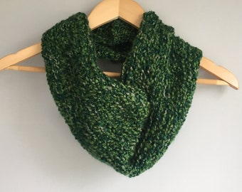 Green Scarf / Green Infinity Scarf / Crochet Scarf / Blue Cowl / Made in USA / DottieQ Scarf