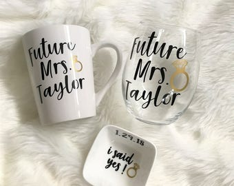 Engagement Gift, Future Mrs Gift, Engagement Gift Set, I said yes, Wedding planning, Newly Engaged Gift, Personalized Gift, Bride to be Gift