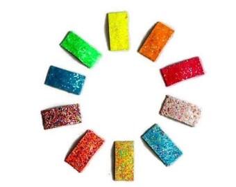 glitter snap clip, you choose, blue, pink, yellow, green, orange, rainbow