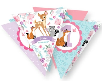 Baby Deer Woodland Bunting, Printable, Customized, DIY invitation, Girl's Woodland Party, Woodland party, pink & purple, digital files
