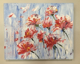 Original Oil Painting- flowers with Impressionism; small