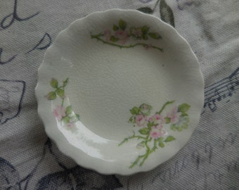 Vintage/Antique Small Butter Pat Dish 1880s to 1920s W.H.  Pink Roses Scalloped Edges Shabby Chic