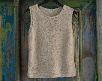 Beiges top, hand knitted, shirt, sleeveless, cotton, Bändchengan