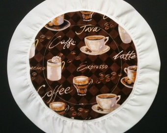 Scented Hot Pad, Circle, Coffee on Brown Checks with White Trim