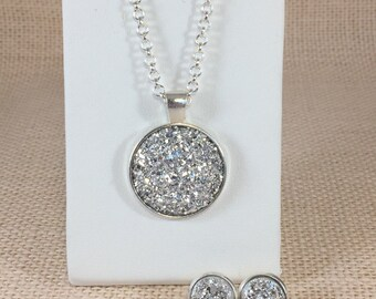Bridesmaid Gift - Silver Druzy Jewelry - Necklace and Earring Set - Druzy - Wedding Jewelry - Druzy Necklace - Druzy Earrings - Bridesmaids