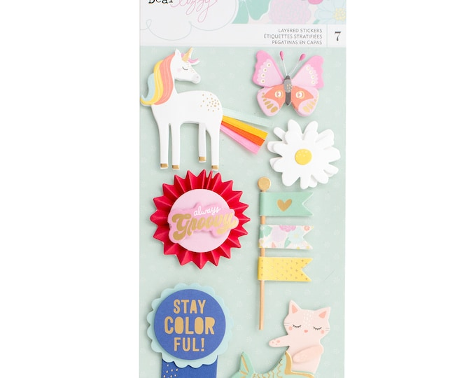 Stay colorful by dear lizzy layered icon stickers