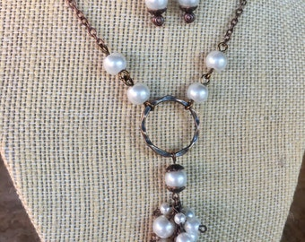 Tibetan copper and glass pearl cluster necklace and earring set